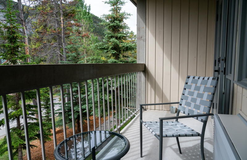 Guest balcony at Tunnel Mountain Resort