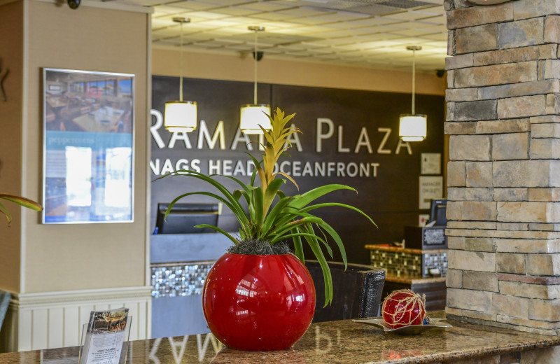 Reception desk at Ramada Plaza Nags Head Oceanfront.
