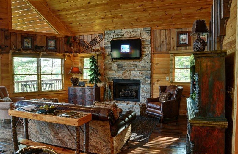 Cabin living room at Southern Comfort Cabin Rentals.