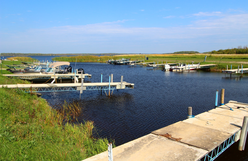 Boat docks at Angle Outpost Resort & Conference Center.
