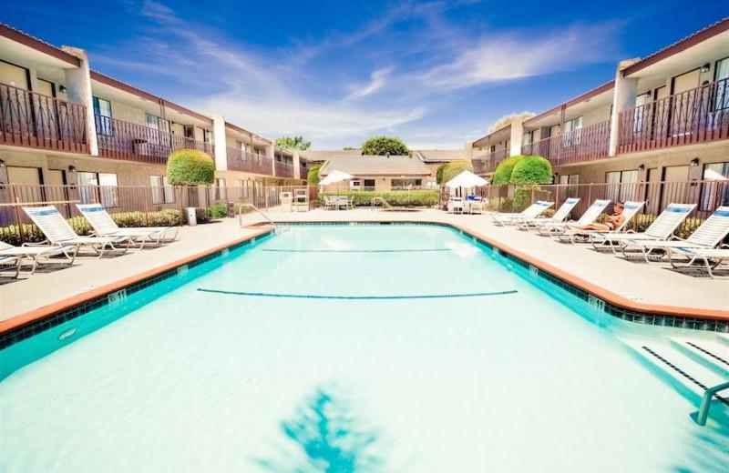 Outdoor pool at Anaheim InnSuites Hotel & Suites in Buena Park.