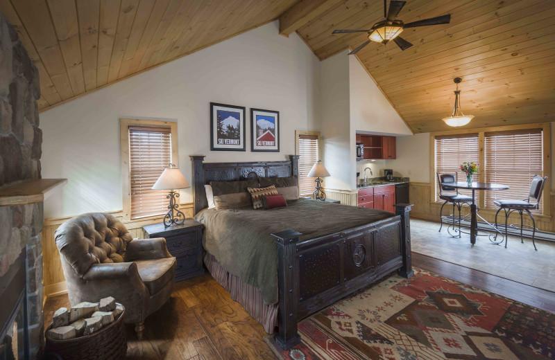 Cabin bedroom at The Mountain Top Inn & Resort.