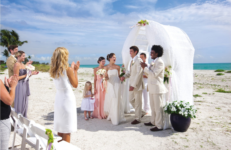 Beach wedding at South Seas Island Resort.