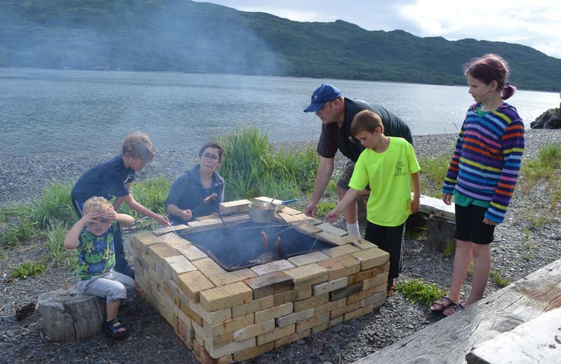 Bonfire at Zachar Bay Lodge.
