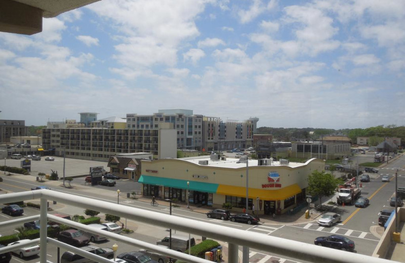 Balcony view of city at Four Sails Resort.