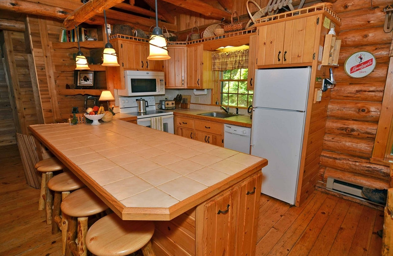 Cabin kitchen at North Country Vacation Rentals.