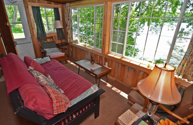 Cabin living room at Barker Lake Lodge.