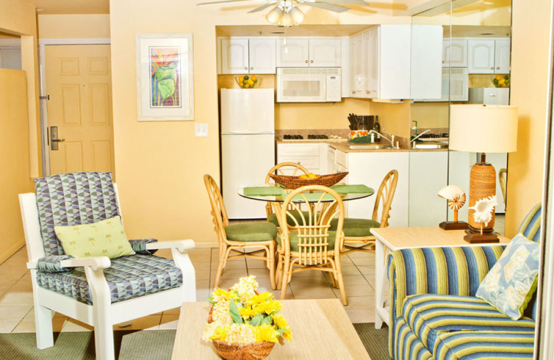 Dining Area and Kitchen of a Two Bedroom Unit at the Southern California Beach Club