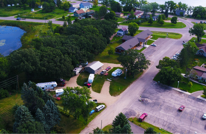 Aerial view of Battle Lake Inn and Suites.
