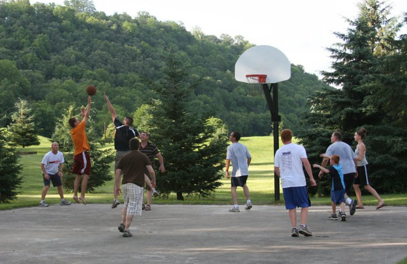 Playing basketball at Cedar Valley Resort.