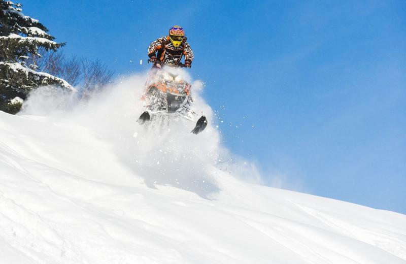 Snowmobiling at Superior Shores Resort.