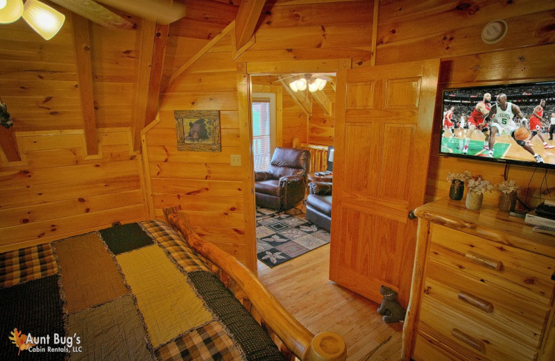 Cabin bedroom at Aunt Bug's Cabin Rentals, LLC.