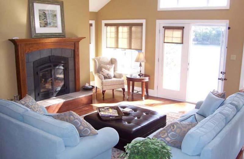 Cottage living room at All-Season Cottage Rentals.