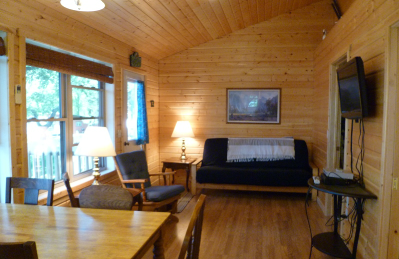 Cabin living room at Swan Lake Resort.