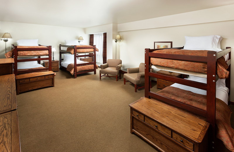 6 beds total (3 bunk sets) with Complete Bathroom, TV, No Mountain View at Alta's Rustler Lodge.