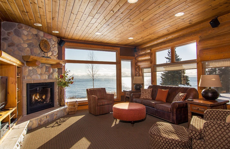 Guest living room at Grand Superior Lodge on Lake Superior.