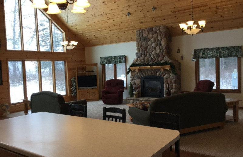 Cabin living room at Becker's Resort & Campground.