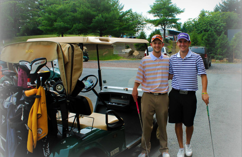 Golf carts at Rocky Gap Casino Resort.