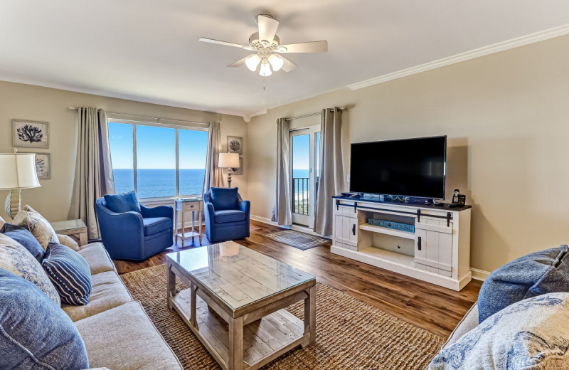 Rental living room at Amelia Rentals and Management Services.