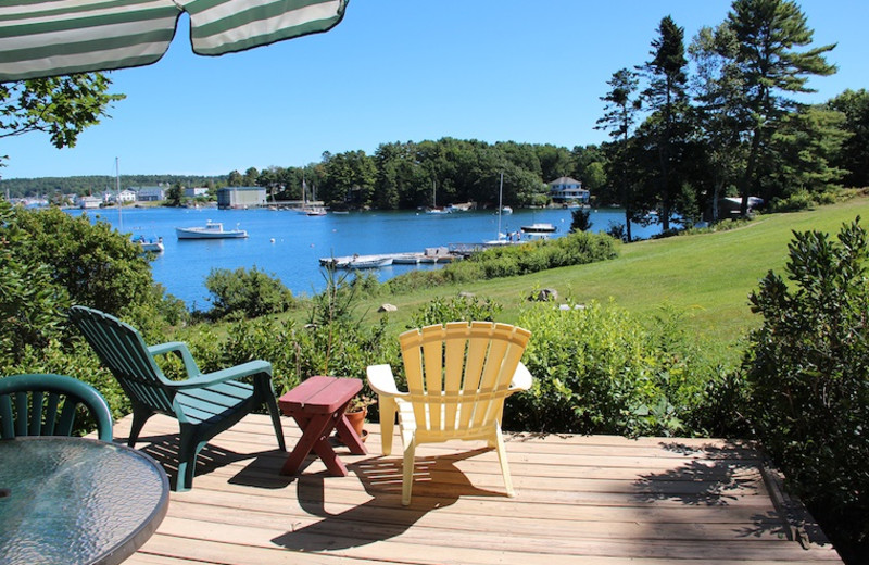 Rental patio at Harborfields Waterfront Vacation Cottages.