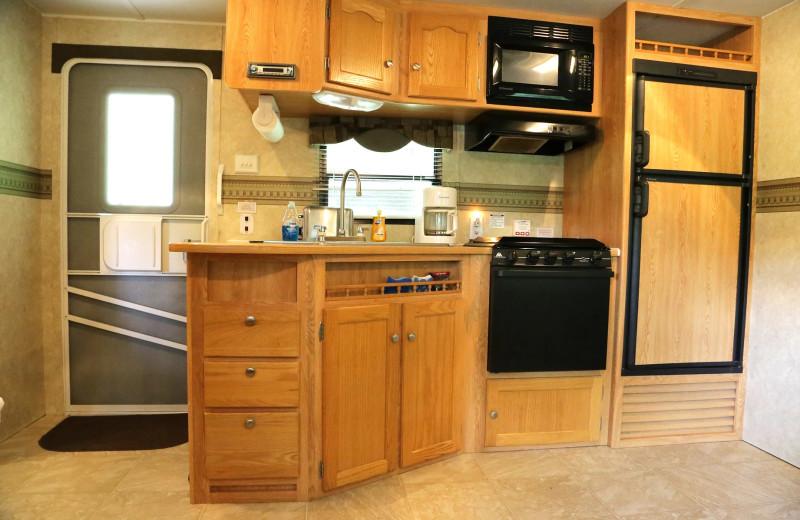RV kitchen at Glen Ellis Family Campground.