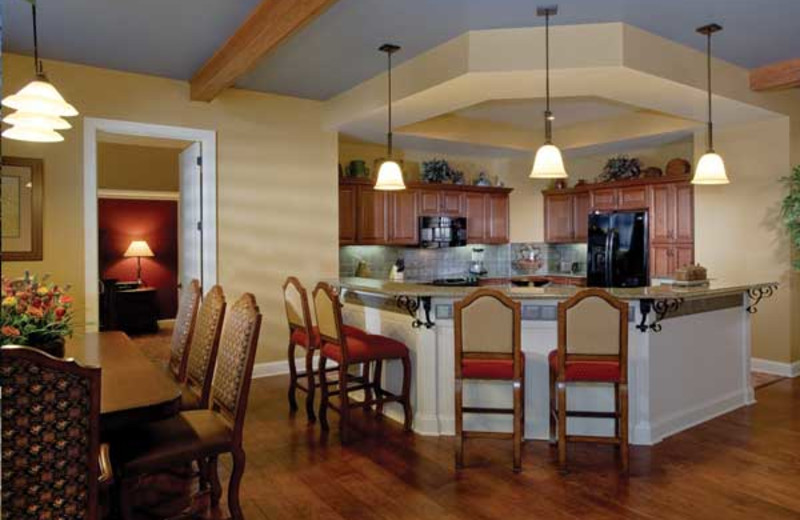 Vacation rental kitchen and dining room at Wyndham Vacation Resorts Shawnee Village.