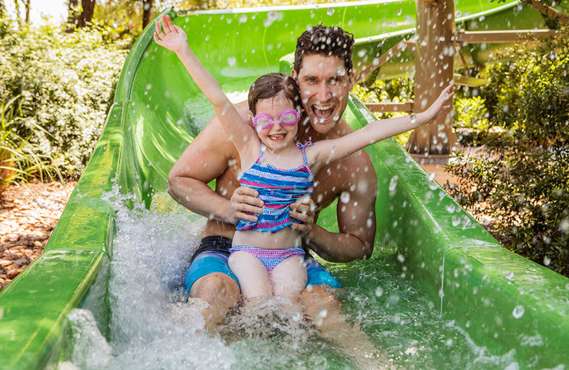 Family on water slide at Hyatt Regency Hill Country Resort and Spa.