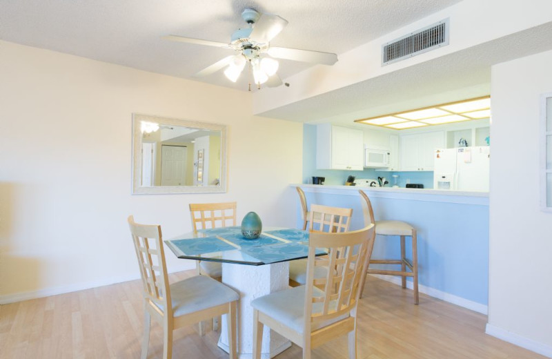 Guest kitchen at Plumlee Gulf Beach Realty.