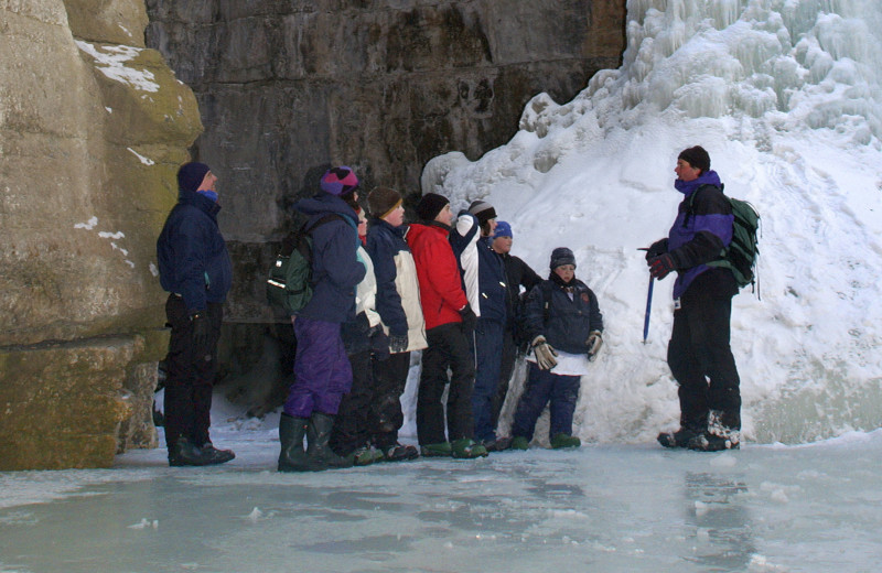 Ice walk near Gingerbread Cabin.