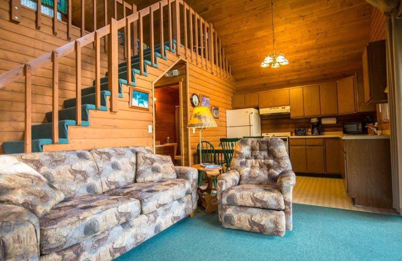Cabin living room at Wilderness Bay Lodge and Resort.