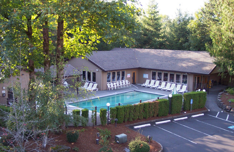Outdoor pool at Whispering Woods Resort.