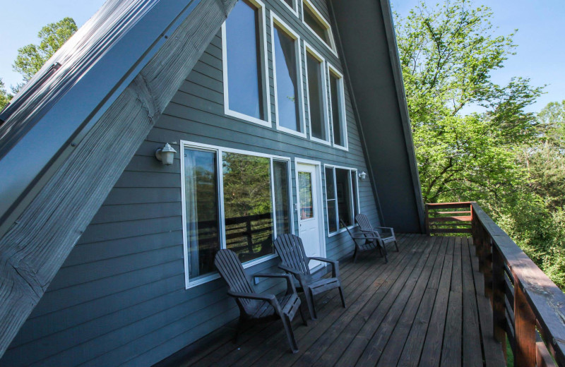 Chalet deck view at Old Man's Cave Chalets.