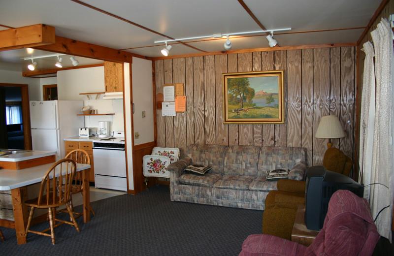 Cabin interior at Wind Drift Resort.