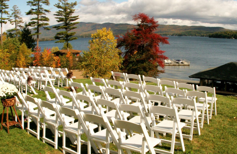 Wedding ceremony at The Lodges at Cresthaven on Lake George.