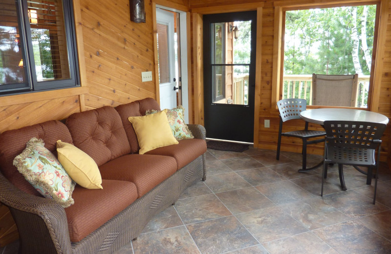 Cabin porch at River Point Resort & Outfitting Co.