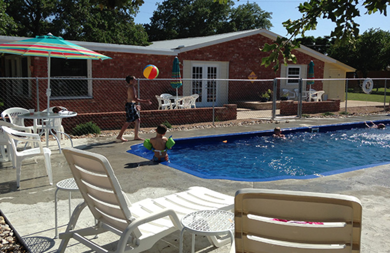 Outdoor pool at Cedar Lodge Texas.