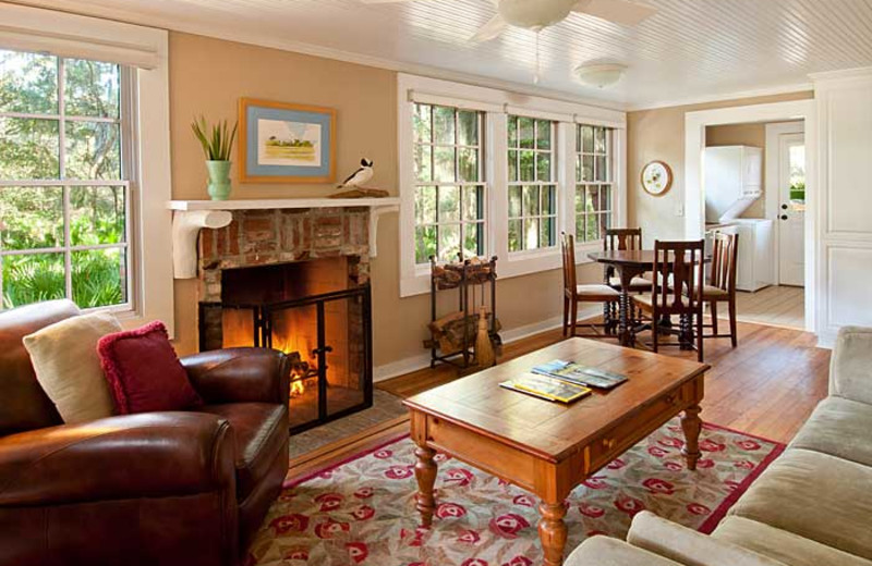 Michael Cottage living room at Lodge on Little St. Simons Island.