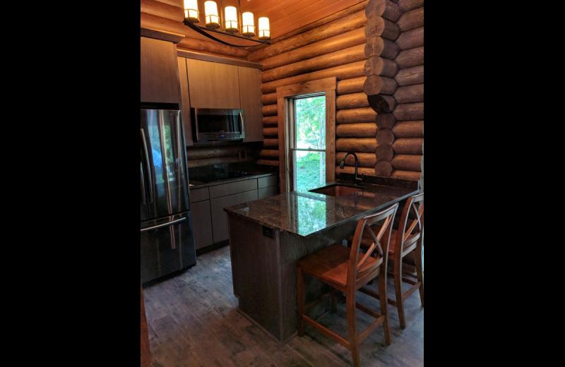 Cabin kitchen at Chateau Lake Logan.