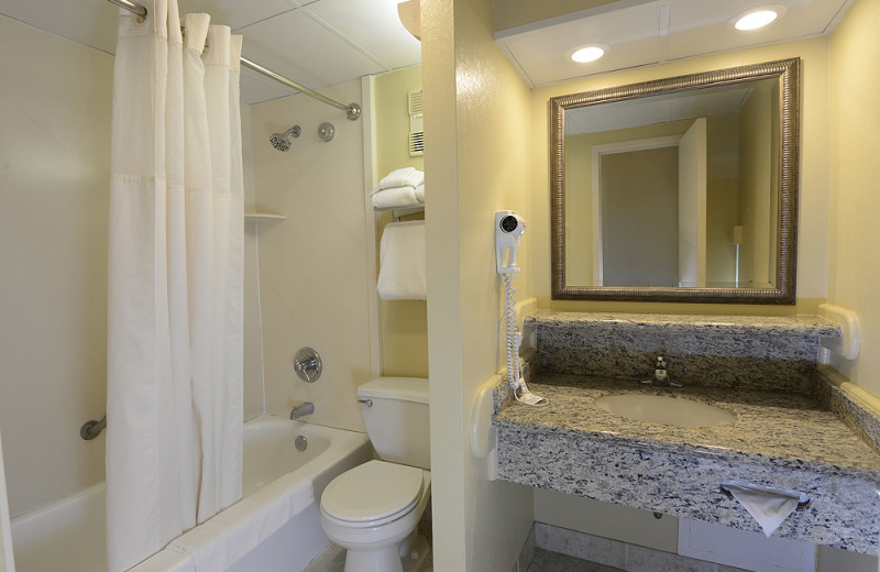 Guest bathroom at Clarion Resort Fontainebleau.