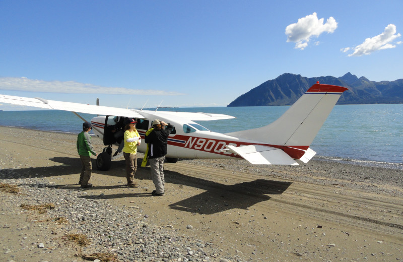 Plane on beach at Great Alaska Adventure Lodge.
