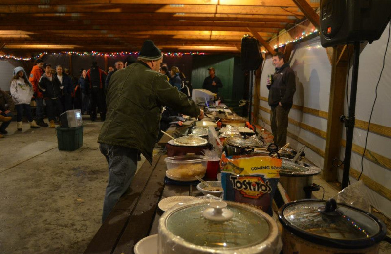 Winter cookout at Old Forge Camping Resort.