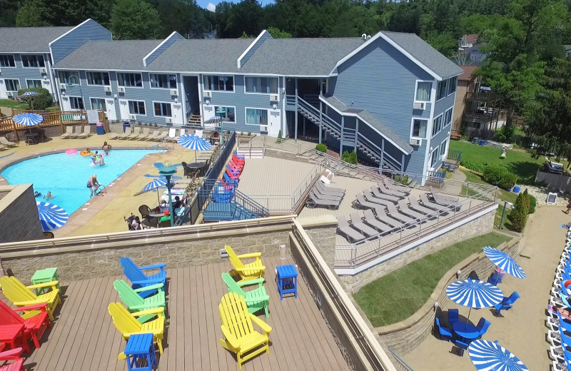 Aerial view of patio at Surfside on the Lake Hotel & Suites.