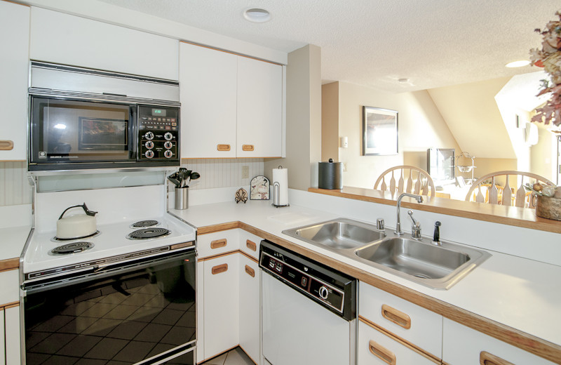 Guest kitchen at Rivergreen Resort.