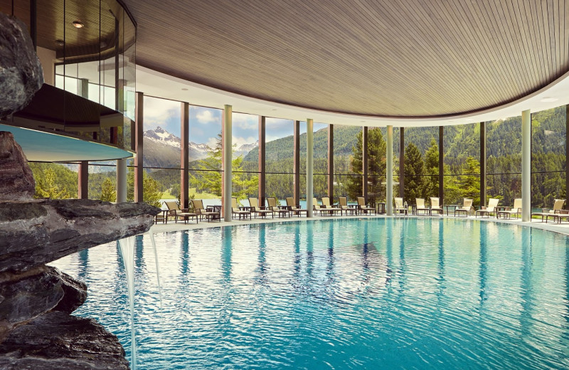 Indoor pool at Badrutt's Palace St. Moritz.