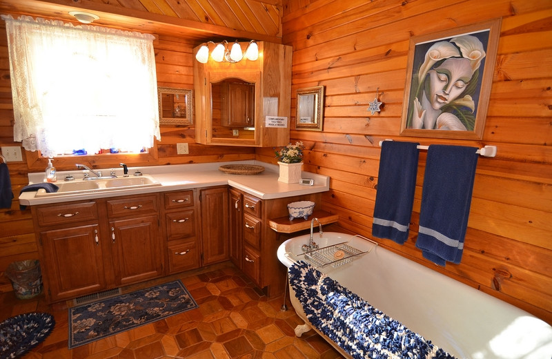 Cabin bathroom at North Country Vacation Rentals.