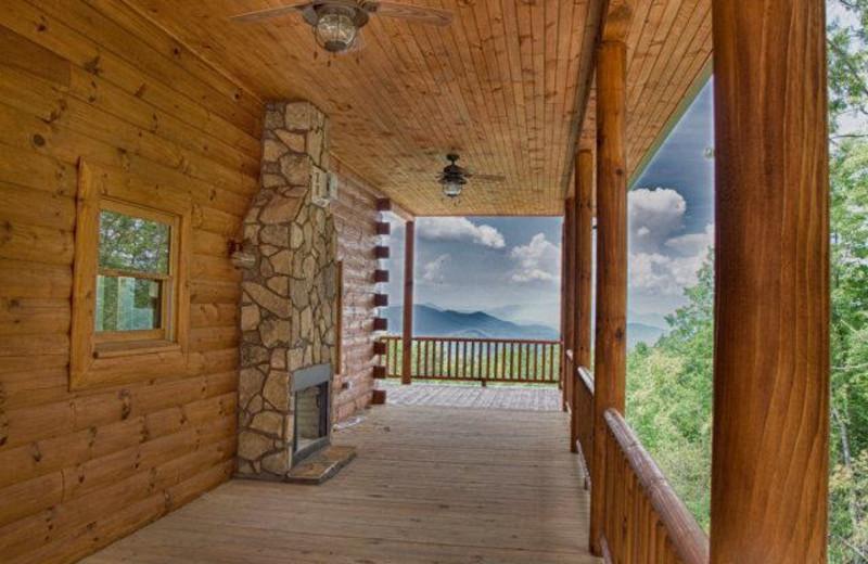 Cabin deck view at Hidden Creek Cabins.