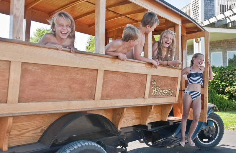 Family on tram at Winnetu Oceanside Resort.