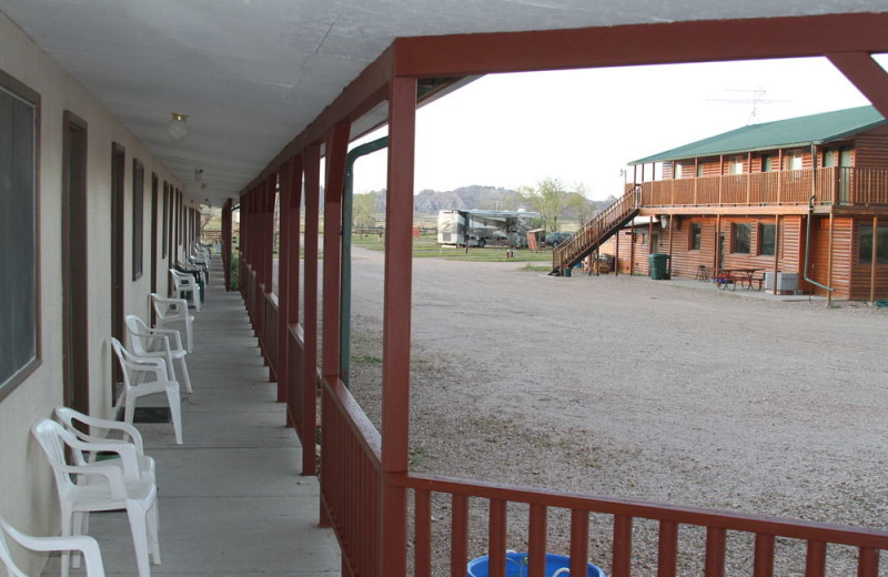 Exterior view of Badlands Motel.
