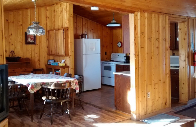 Cabin kitchen at Dunlop Lake Lodge.