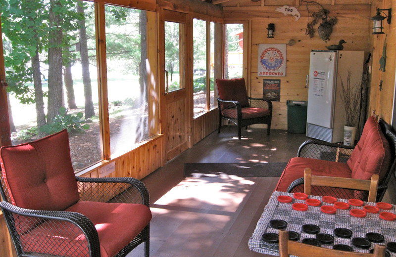 Lodge screen porch at Two Inlets Resort.